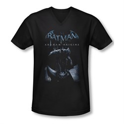 Image of Arkham Origins Shirt Slim Fit V-Neck Perched Black T-Shirt