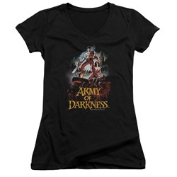 Image of Army Of Darkness Juniors V Neck Shirt Bloody Poster Black T-Shirt