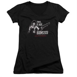 Image of Army Of Darkness Juniors V Neck Shirt Boomstick Black T-Shirt