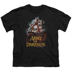 Image of Army Of Darkness Kids Shirt Bloody Poster Black T-Shirt