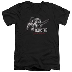 Image of Army Of Darkness Slim Fit V-Neck Shirt Boomstick Black T-Shirt