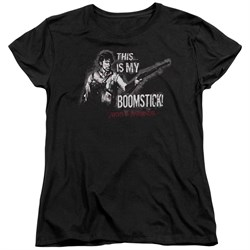 Image of Army Of Darkness Womens Shirt Boomstick Black T-Shirt