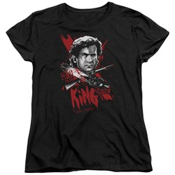 Image of Army Of Darkness Womens Shirt Hail To The King Black T-Shirt
