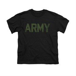Image of Army Shirt Kids Green Logo Black T-Shirt