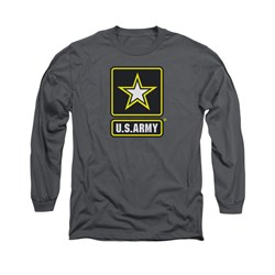 Image of Army Shirt Logo Long Sleeve Charcoal Tee T-Shirt