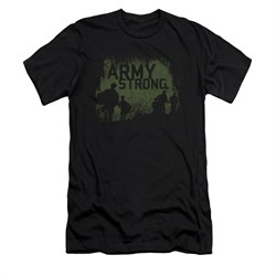 Image of Army Shirt Slim Fit Distressed Army Strong Black T-Shirt