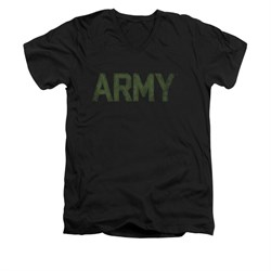 Image of Army Shirt Slim Fit V-Neck Green Logo Black T-Shirt