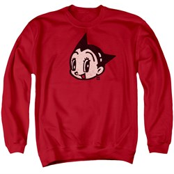 Image of Astro Boy Sweatshirt Face Adult Red Sweat Shirt