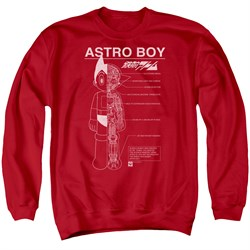 Image of Astro Boy Sweatshirt Schematics Adult Red Sweat Shirt
