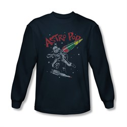 Image of Astro Pop Shirt Space Joust Long Sleeve Navy Tee T-Shirt