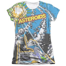Atari Shirt Asteroids All Over Poly/Cotton Sublimation Juniors Shirt