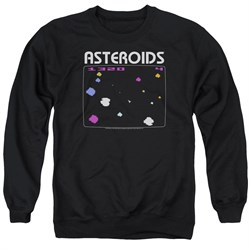 Image of Atari Sweatshirt Asteroids Screen Adult Black Sweat Shirt