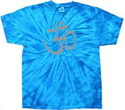 Mens Yoga T-shirt - Aum Symbol Adult Spider Royal Tie Dye Tee Shirt