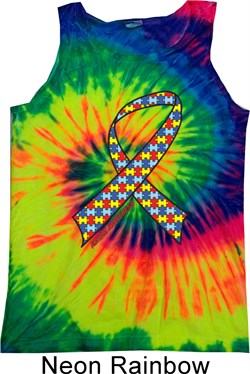 Image of Autism Awareness Ribbon Tie Dye Tank Top
