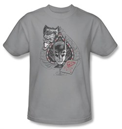 Batman T-Shirt - Batman's Face Adult Silver Gray Tee