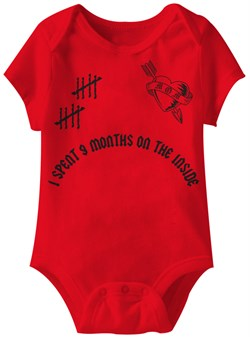 Image of Baby Funny Romper 9 Months Infant Red Babies Creeper