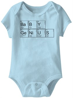 Image of Baby Genius Funny Baby Romper Light Blue Infant Babies Creeper