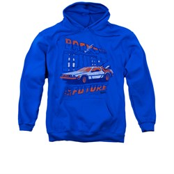 Image of Back To The Future Hoodie Sweatshirt Lightning Strikes Royal Blue Adult Hoody Sweat Shirt