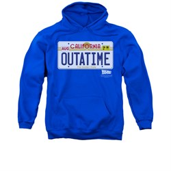 Image of Back To The Future Hoodie Sweatshirt Outatime Royal Blue Adult Hoody Sweat Shirt