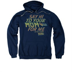 Back To The Future Hoodie Sweatshirt Say Hi Navy Blue Adult Hoody Sweat Shirt