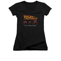 Image of Back To The Future II Shirt Juniors V Neck Future Is Here Black Tee T-Shirt