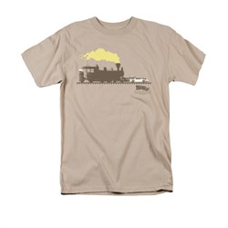 Image of Back To The Future III Shirt Pushing The Delorean Adult Sand Tee T-Shirt