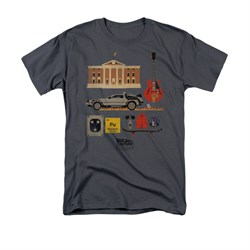 Image of Back To The Future Shirt Items Adult Charcoal Tee T-Shirt