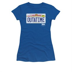 Image of Back To The Future Shirt Juniors Outatime Royal Blue Tee T-Shirt