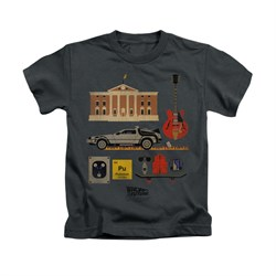 Image of Back To The Future Shirt Kids Items Charcoal Youth Tee T-Shirt