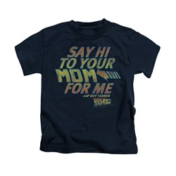 Image of Back To The Future Shirt Kids Say Hi Navy Blue Youth Tee T-Shirt