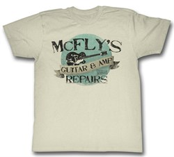 Image of Back To The Future Shirt McFly's Guitar & Amp Repair Natural T-Shirt