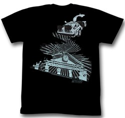 Image of Back To The Future Shirt The Clock Tower Adult Black Tee T-Shirt