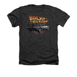 Image of Back To The Future Shirt Time Machine Adult Heather Charcoal Tee T-Shirt