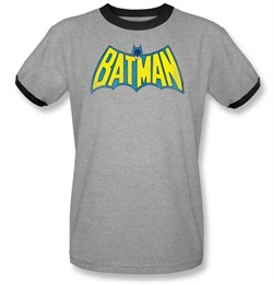 Batman Ringer T-Shirt - Classic Batman Logo Adult Gray/Black Tee