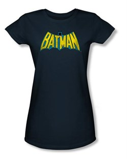 Batman Juniors T-Shirt - Classic Batman Logo Navy Blue Tee