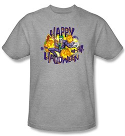 Image of Batman Kids T-Shirt - Ha Ha Halloween Youth Athletic Heather Tee