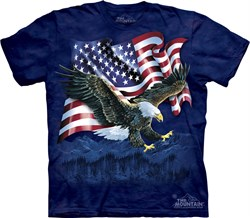 Image of Bald Eagle Shirt Tie Dye Talon American Flag T-shirt Adult Tee