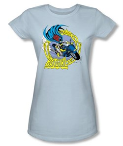 Batman Juniors T-Shirt - Motorcycle Blue Tee