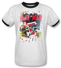 Image of Batman Ringer T-Shirt - Number 11 Distressed Adult White/Black Tee