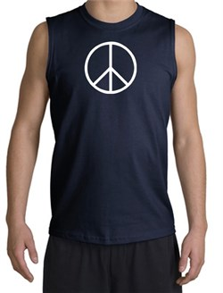 Image of Peace Sign Shirt Basic Peace White Print Muscle Shirt Navy