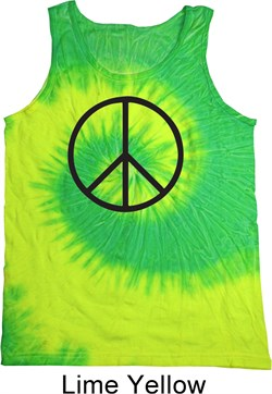 Image of Basic Black Peace Tie Dye Tank Top