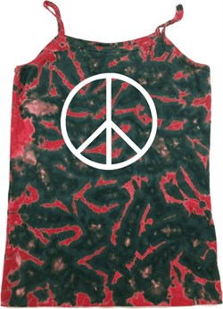Image of Basic White Peace Ladies Tie Dye Camisole Tank Top