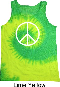 Image of Basic White Peace Tie Dye Tank Top