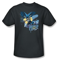 Image of Batman T-Shirt - In To Night Adult Charcoal Tee