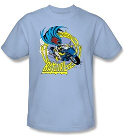 Batgirl T-Shirt - Batgirl Motorcycle Dc Comics Adult Light Blue Tee