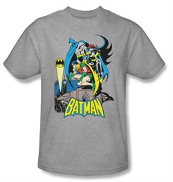 Image of Batman And Robin T-shirt Heroic Trio DC Comics Adult Athletic Heather