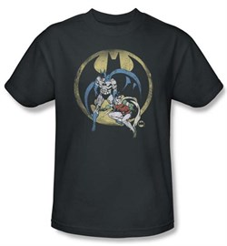 Batman And Robin T-shirt - Team DC Comics Adult Charcoal