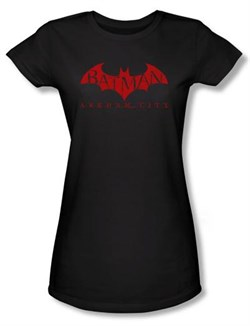 Batman Juniors T-Shirt - Arkham City Red Bat Black Tee