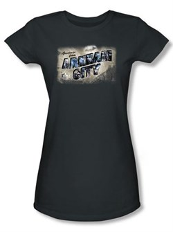 Image of Batman Juniors T-Shirt Arkham City Greetings From Arkham Charcoal Tee