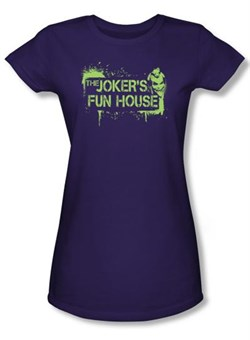 Batman Juniors T-Shirt - Arkham City Joker's Fun House Purple Tee